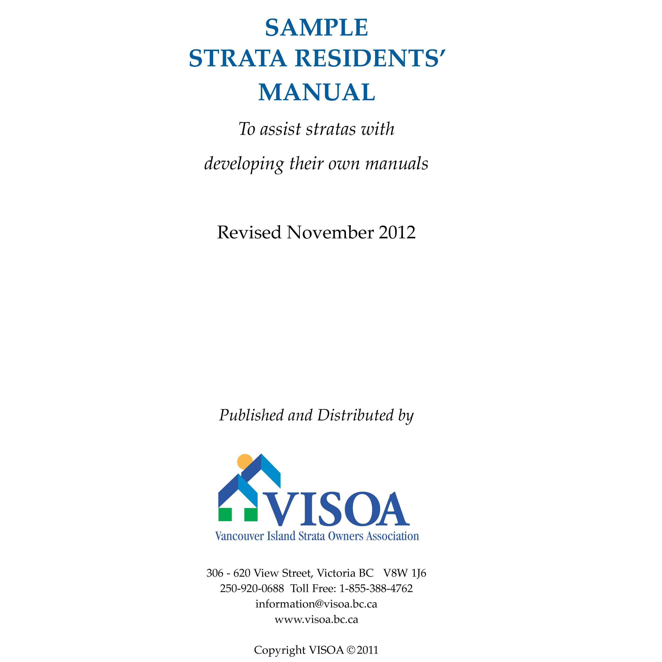 Maintenance Manual Template | Sample Strata Residents Manual Vancouver Island Strata Owners
